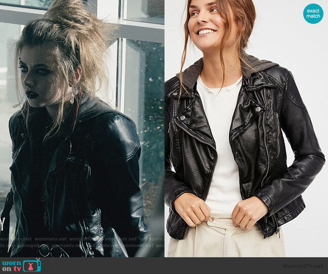 Free People Vegan Leather Hooded Jacket worn by Beth (Giorgia Whigham) on Scream