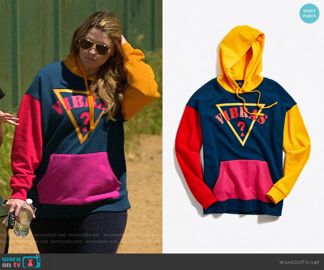GUESS X J Balvin Vibras Colorblock Hoodie Sweatshirt worn by Mischa Barton  on The Hills New Beginnings