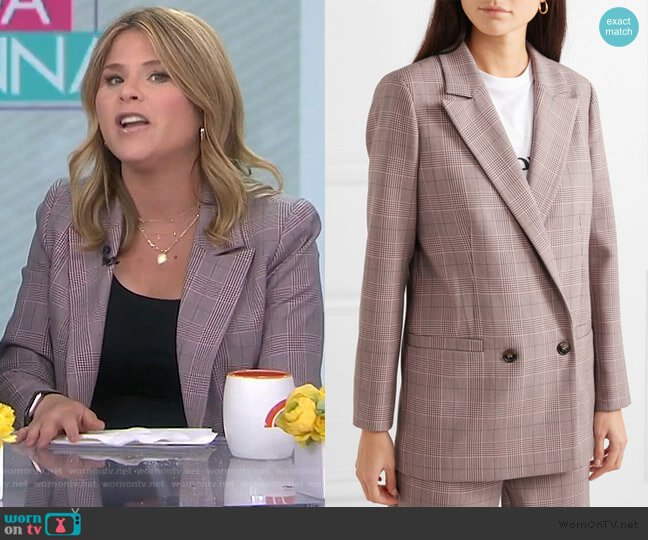 Checked Cady Blazer by Ganni worn by Jenna Bush Hager  on Today