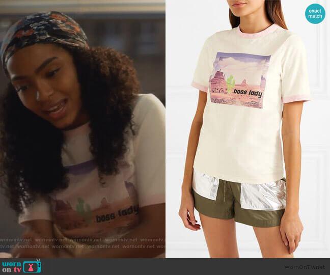 Printed jersey T-shirt by Ganni worn by Zoey Johnson (Yara Shahidi) on Grown-ish