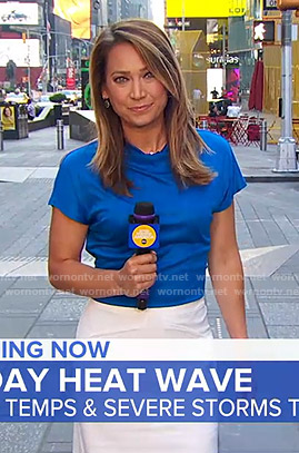 Ginger's blue top and white skirt on Good Morning America