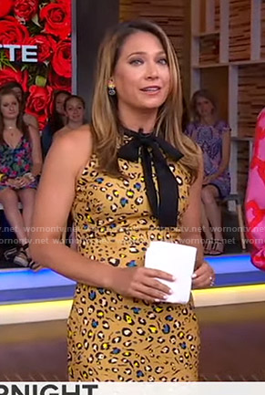 Ginger's yellow leopard print dress on Good Morning America