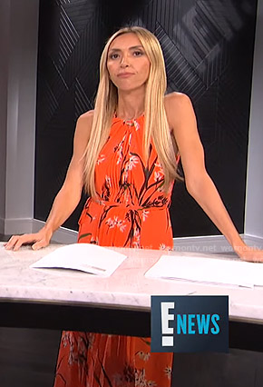 Giuliana's orange floral pleated dress on E! News