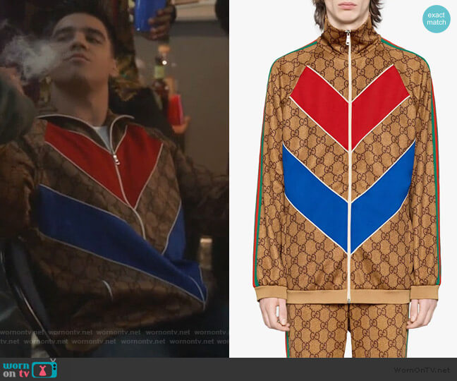 GG technical jersey jacket by Gucci worn by Vivek Shah (Jordan Buhat) on Grown-ish