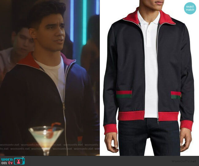 Web Track Jacket by Gucci worn by Vivek Shah (Jordan Buhat) on Grown-ish