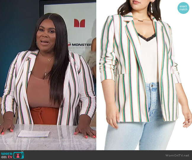 Ruched Sleeve Stripe Blazer by Halogen worn by Nina Parker  on E! News