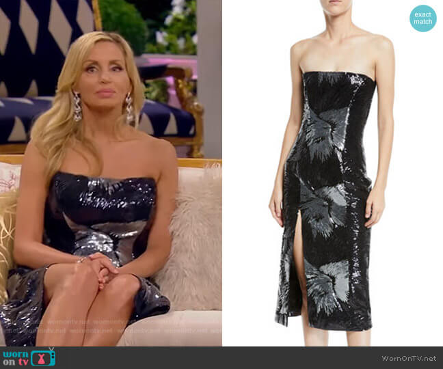 Strapless Starburst-Sequin Fitted Cocktail Midi Dress by Halpern worn by Camille Grammer  on The Real Housewives of Beverly Hills
