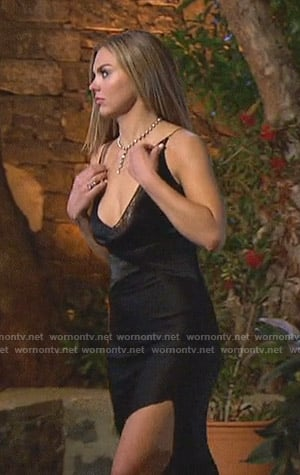 Hannah's black asymmetric dress on The Bachelorette