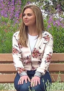 Hannah's floral bomber jacket on The Bachelorette