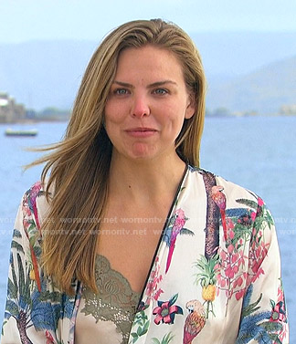 Hannah's bird print robe and lace-trim cami on The Bachelorette