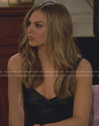 Hannah's black corset mini dress on The Bachelorette