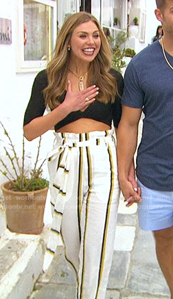 Hannah's black top and striped pants on The Bachelorette