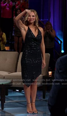 Hannah's black cowl neck asymmetric dress on The Bachelorette
