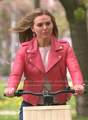 Hannah's pink moto jacket on The Bachelorette