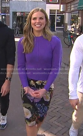 Hannah's purple sweater and floral skirt on The Bachelorette