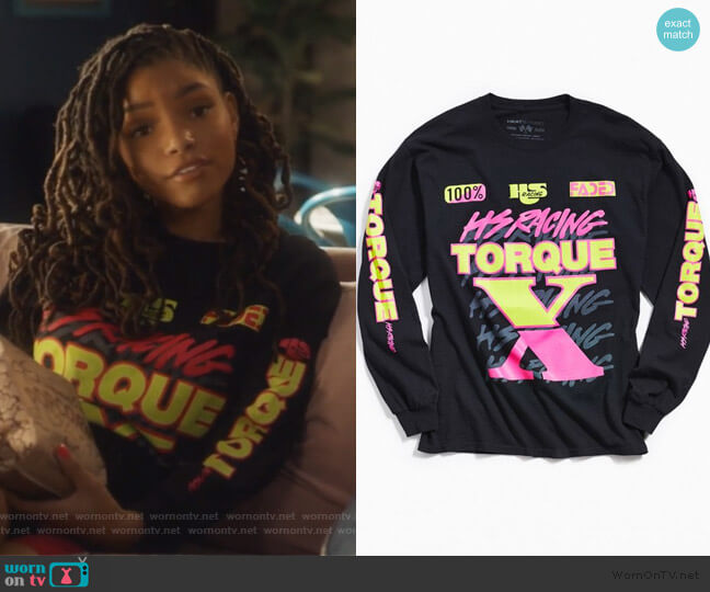 Torque Sleeve Tee by Heat Streat worn by Skylar Forster (Halle Bailey) on Grown-ish