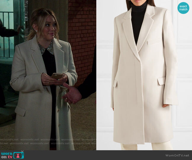 Wool Coat by Helmut Lang worn by Kelsey Peters (Hilary Duff) on Younger