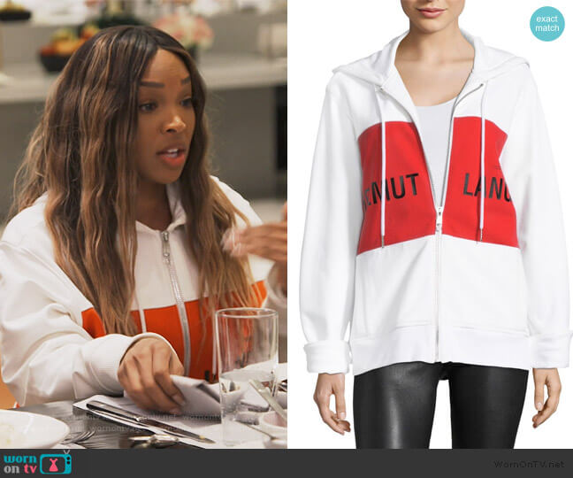 Shayne Logo Panel Hoodie by Helmut Lang worn by Malika on Keeping Up with The Kardashians