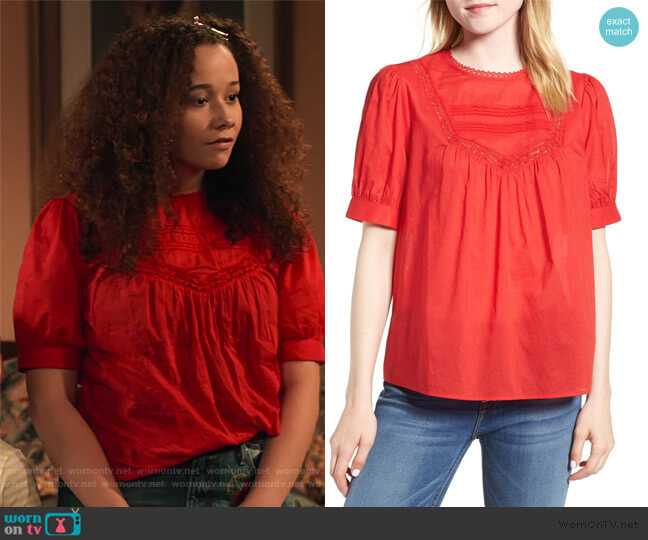 Lace Trim Cotton Top by Hinge worn by Jade (Talia Jackson) on Family Reunion