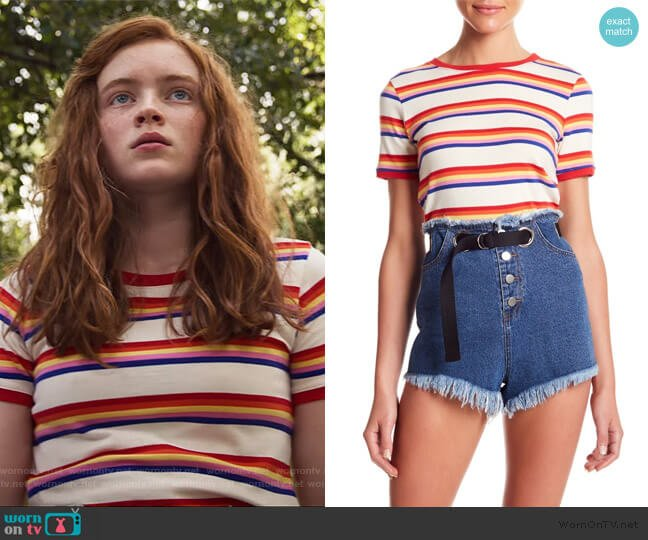 Striped Ringer Tee by Honey Punch worn by Max (Sadie Sink) on Stranger Things
