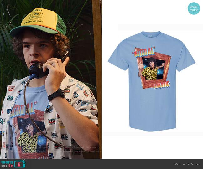 IN-3D Blue T-Shirt by Weird Al worn by Dustin (Gaten Matarazzo) on Stranger Things