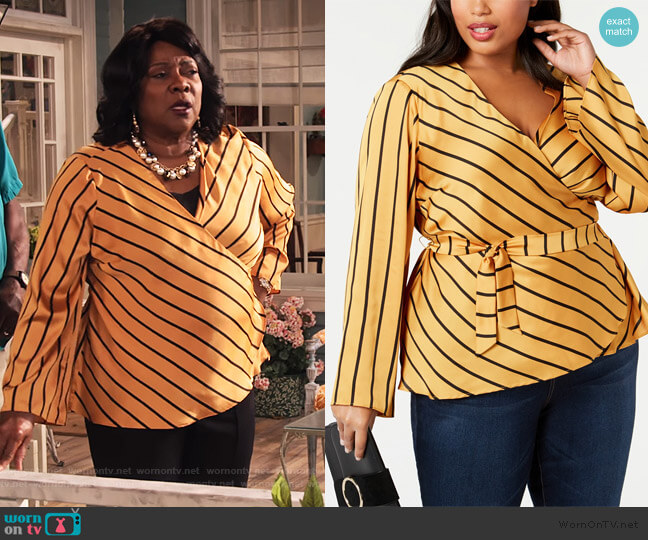 Striped Wrap Top by INC International Concepts worn by MDear (Loretta Devine) on Family Reunion