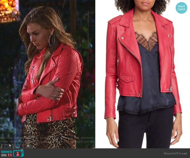 Ashville Moto Jacket by IRO worn by Hannah Brown  on The Bachelorette