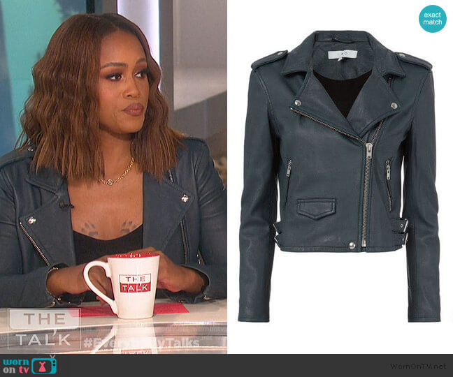 Ashville Leather Moto Jacket by IRO worn by Eve  on The Talk