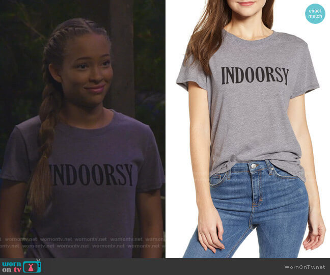 Sub_Urban Riot Indoorsy Graphic Tee worn by Ava (Shelby Simmons) on Bunkd