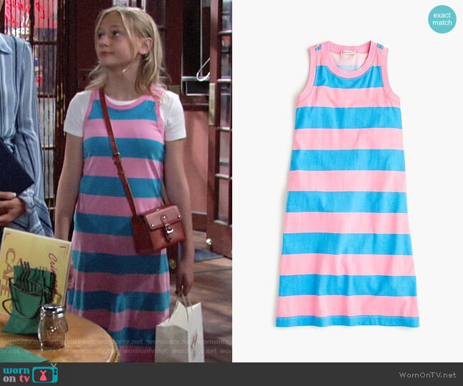 J. Crew Girls' maxi dress in rugby stripe worn by Faith Newman (Alyvia Alyn Lind) on The Young & the Restless