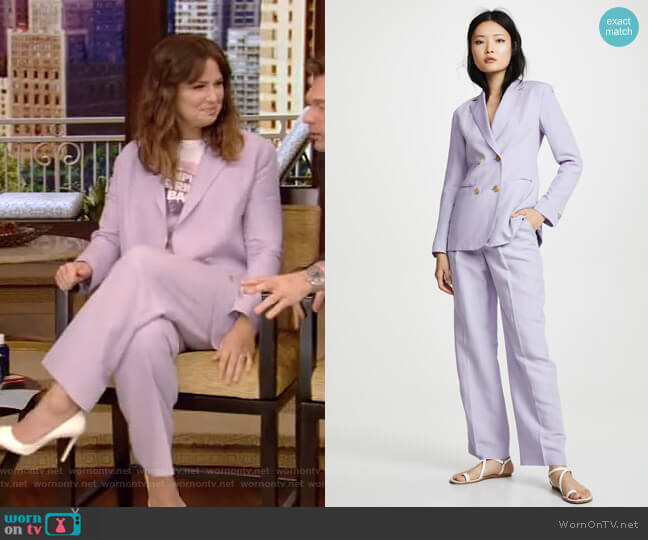 Hannah Blazer and Gianna Pants by Jenny Park worn by Katie Lowes on Live with Kelly and Ryan