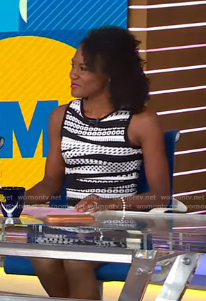 Janai's black and white printed sheath dress on Good Morning America