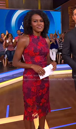 Janai's red lace sheath dress on Good Morning America