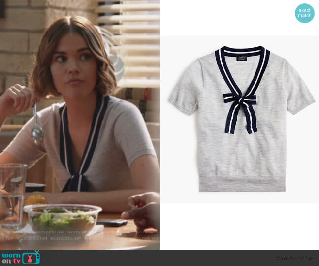 Tie-neck short-sleeve sweater in everyday cashmere by J. Crew worn by Callie Foster (Maia Mitchell) on Good Trouble