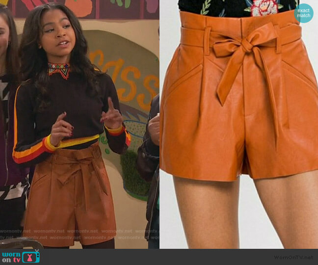 Leather Shorts Tie Waist Skirt by Jealous Tomato worn by Nia Baxter (Navia Robinson) on Ravens Home