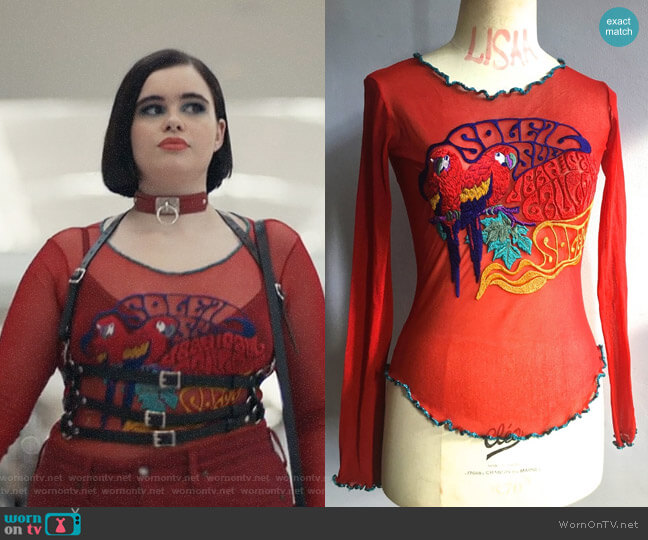 Jean Paul Gaultier Embroidered Tattoo Top worn by Kat Hernandez (Barbie Ferreira) on Euphoria