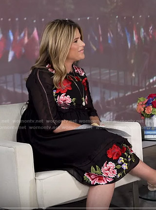 Jenna's black floral embroidered dress on Today