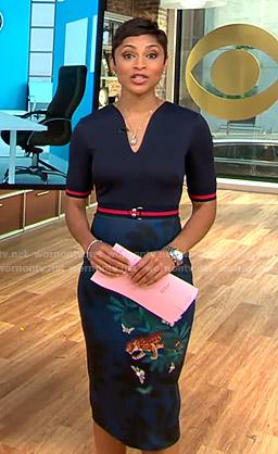 Jericka's navy cheetah print sheath dress on CBS This Morning