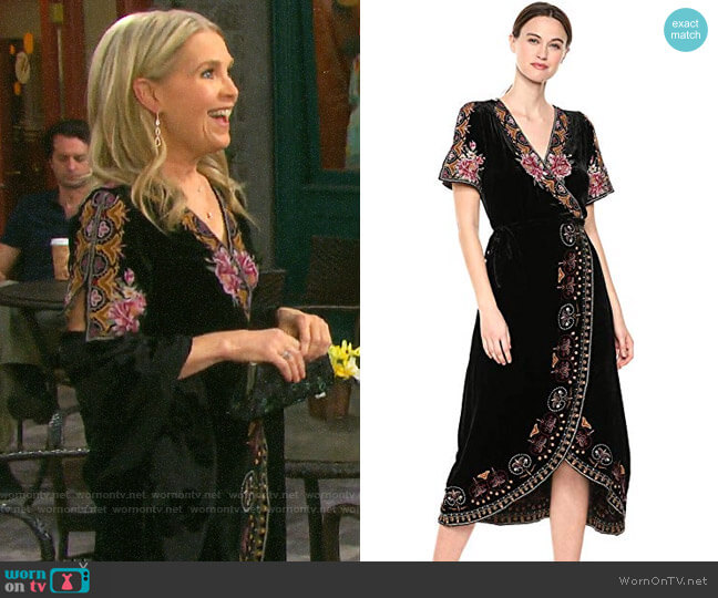 Johnny Was Embroidered Wrap Dress worn by Jennifer Horton (Melissa Reeves) on Days of our Lives
