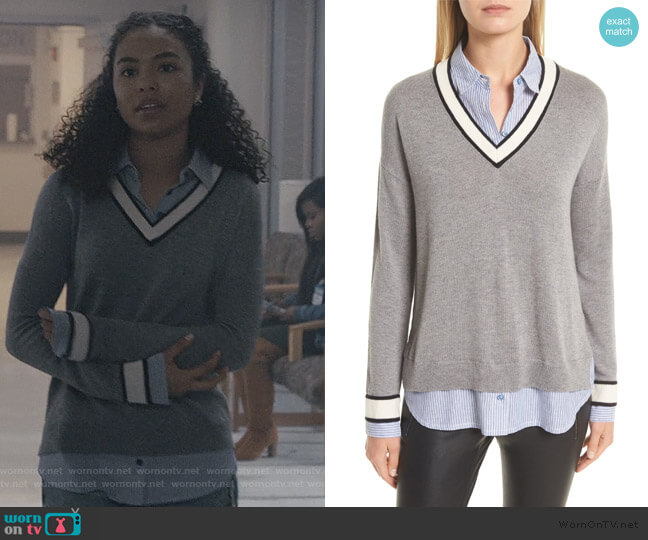 Belva Layered Look Sweater by Joie worn by Olivia Reynolds (Jessica Sula) on Scream