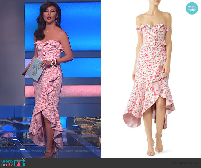 Strapless Ruffled Lace Midi Dress by Jonathan Simkhai worn by Julie Chen  on Big Brother