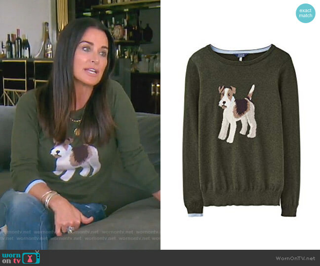 Miranda Intarsia Jumper by Joules worn by Kyle Richards  on The Real Housewives of Beverly Hills