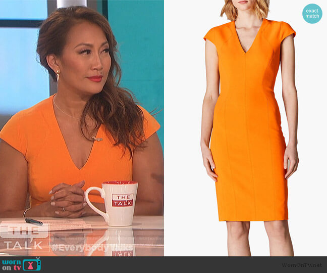 Cap Sleeve Pencil Dress by Karen Millen worn by Carrie Inaba  on The Talk
