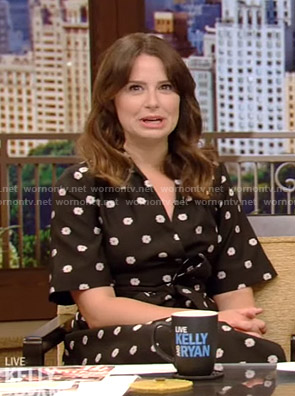Katie Lowes's black floral wrap dress on Live with Kelly and Ryan