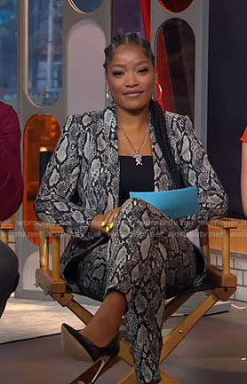 Keke's grey snake print suit on GMA Strahan And Sara