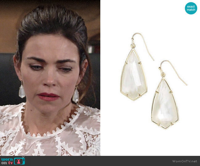 Kendra Scott Carla Earrings worn by Victoria Newman (Amelia Heinle) on The Young & the Restless
