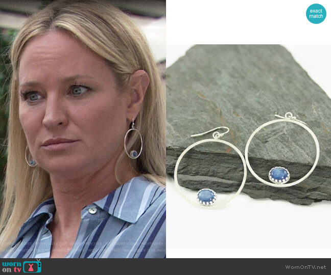 KimJakumDesigns Serenity Silver Kyanite Hoops worn by Sharon Collins (Sharon Case) on The Young & the Restless