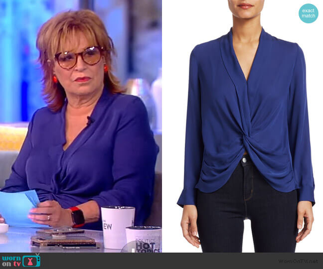 Mariposa Plunge Silk Blouse by L'Agence worn by Joy Behar  on The View