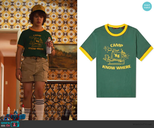 Stranger Things Camp Know Where Ringer Tee by Levis worn by Dustin (Gaten Matarazzo) on Stranger Things