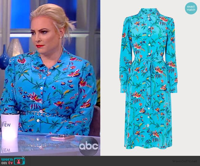 Runa Silk Shirtdress in Turquoise by LK Bennett worn by Meghan McCain  on The View